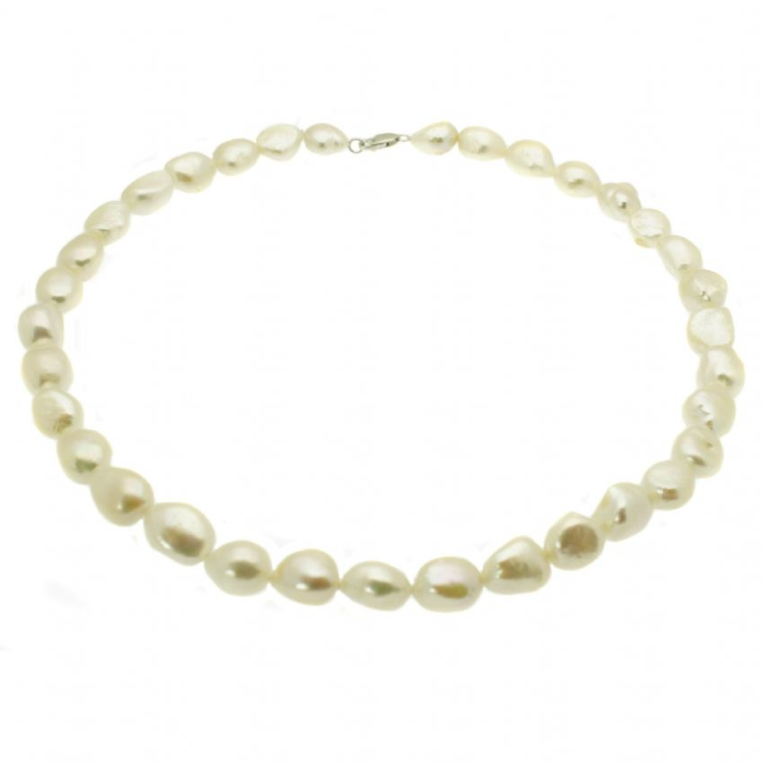 Baroque Pearl Necklace Large White Pearls Sterling Silver 18